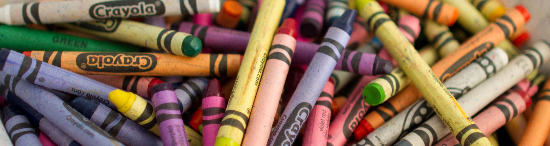 Crayons in a box at Dayspring Christian Academy's preschool in Lancaster PA.