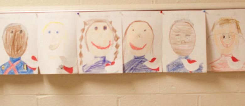 Preschool art portraits at Dayspring Christian Academy.