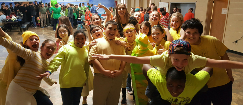 Dayspring Christian Academy class celebrates spirit week.