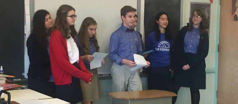 Dayspring Christian Academy students present different views in debate class