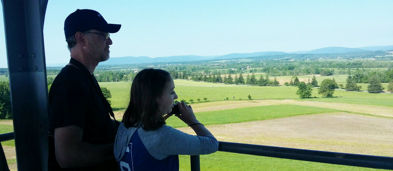 A father and daughter at the observation tower at Gettysburg, PA with Dayspring Christian Academy.