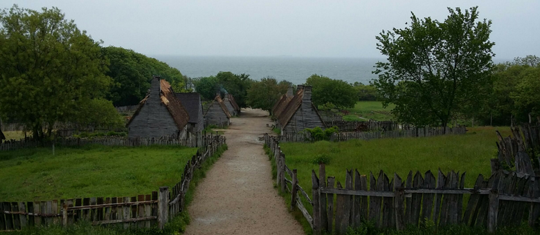 A view of Cape Cod Bay from Plimoth Plantation on a rainy day.
