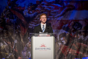 A Dayspring student speaks at the Remember America Speaker Series.