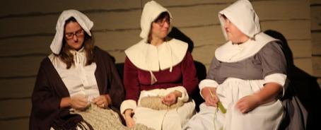 Volunteers at Thanksgiving Exposed show the Pilgrim journey.