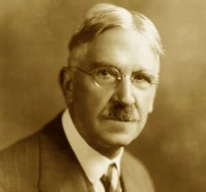 A portrait of John Dewey, a signer of A Humanist Manifesto, is credited as architect of modern education in America.