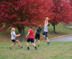 Students play ultimate frisbee at Dayspring Christian Academy.