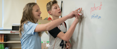 students working together at dayspring christian academy