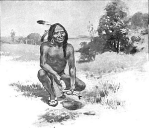 Native American Squanto teaches the Pilgrims how to plant crops in their fields.