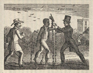 Allegorical illustration of a slave's transition to liberty as he escapes his owner and is embraced by an Abolitionist in a Free State. Engraving taken from the book, 'Narrative of the Life and Adventures of Henry Bibb, An American Slave', 1849. Public Domain.