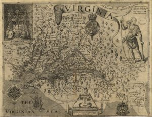 Captain John Smith's Map of America, 1624. Public Domain.