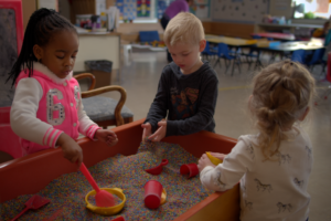 Preschool students in Lancaster, PA play together during free play at Dayspring Christian Academy.