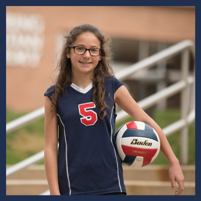 Christian middle school student volleyball athlete