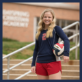 Female Christian High School Sports Team Player with Volleyball