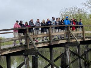 High School Students Stand on the Bridge at Concord